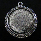 10 Vintage Silver Large Round Photo Pendant Settings - Photo Jewelry Making