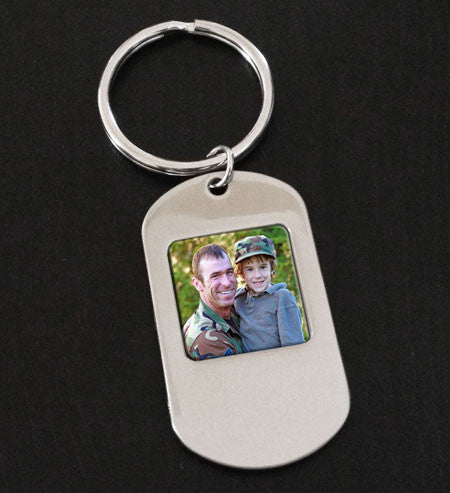 Dog Tag Photo Key Chain
