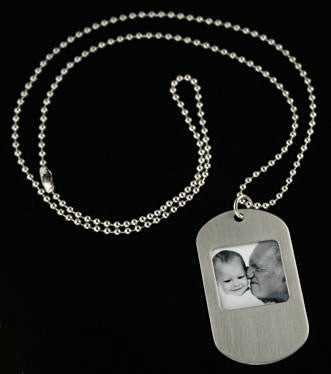"Dog Tag Style Photo Necklace w/ 24"" Ball Chain"