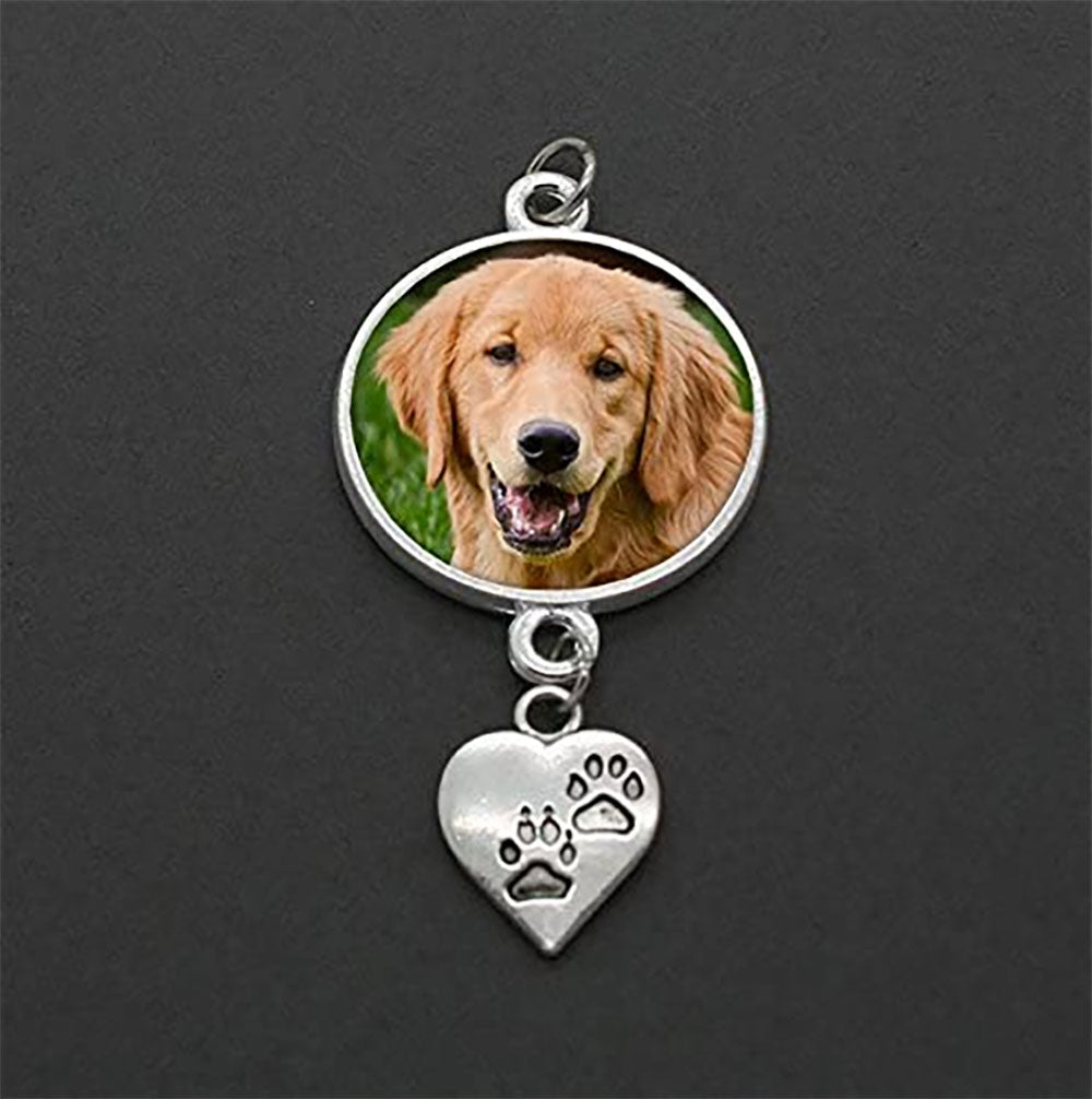 'My Best Friend' Dog / Pet Memorial Wedding Bouquet Photo Charm w/ Paw Dangle