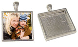 Deep Set Silver Photo Pendant  Sterling Silver Plated Square Made in USA - Photo Jewelry Making