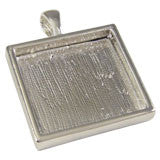 Deep Set Silver Photo Pendant  Sterling Silver Plated Square Made in USA