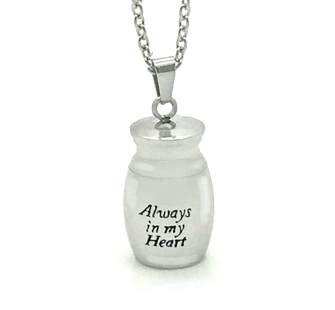 Memorial Funeral Cremation Ashes Holder Necklace Stainless Steel Urn Vial Pendant Jar