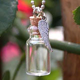 Memorial Ashes Holder Urn Bottle Necklace w/ Angel Wing