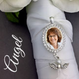 Oval Wedding Bouquet Photo Charm w/ Dangling Pearly Angel Charm