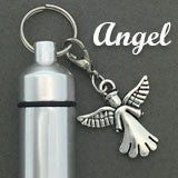 Memorial Ashes Holder Urn Vial Key Chain and Angel Charm