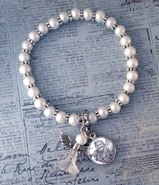 Mini Memorial Angel Photo Bracelet Set
