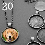 20 Pack Circle Antique Silver Glass Photo Jewelry Pendants w/ 20 Antique Silver Link Chains Photo Jewelry