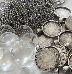 10 pack round antiqued silver pendant trays w chains glass 10 pack round antiqued silver pendant trays w chains glass aloadofball Gallery