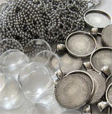 10 Pack Round Antiqued Silver Pendant Trays w/ Chains & Glass
