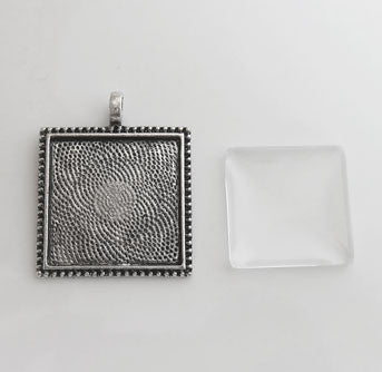 20 Pack Photo Jewelry Beaded Edge Square Pendant w/ Glass Antique Silver