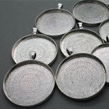 10 Pack 38mm Round Circle Pendants Antique Silver No Glass