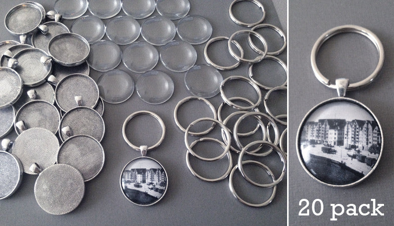 Round 30mm Antique Silver Photo Keychain Supplies Pack Makes 20 - Photo Jewelry Making