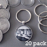Round 30mm Antique Silver Photo Keychain Supplies Pack Makes 20