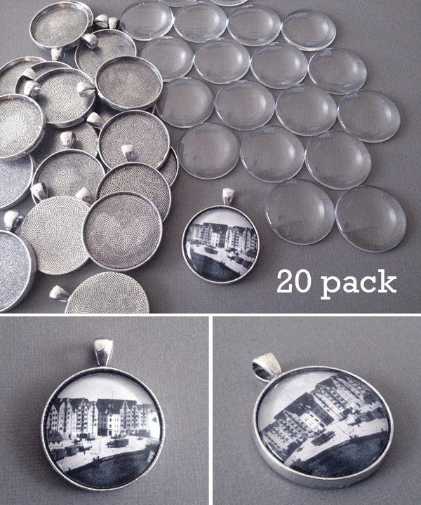 20 Pack Round Antique Silver Photo Jewelry Pendant Setting Supplies w/ Glass - Photo Jewelry Making
