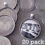 20 Pack Round Antique Silver Photo Jewelry Pendant Setting Supplies, Link Chains w/ Glass