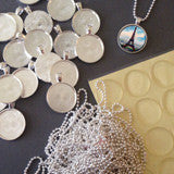 40 Pack Ball Chain Necklace Krystal Clear-Itz Photo Pendant Supply Pack - Photo Jewelry Making