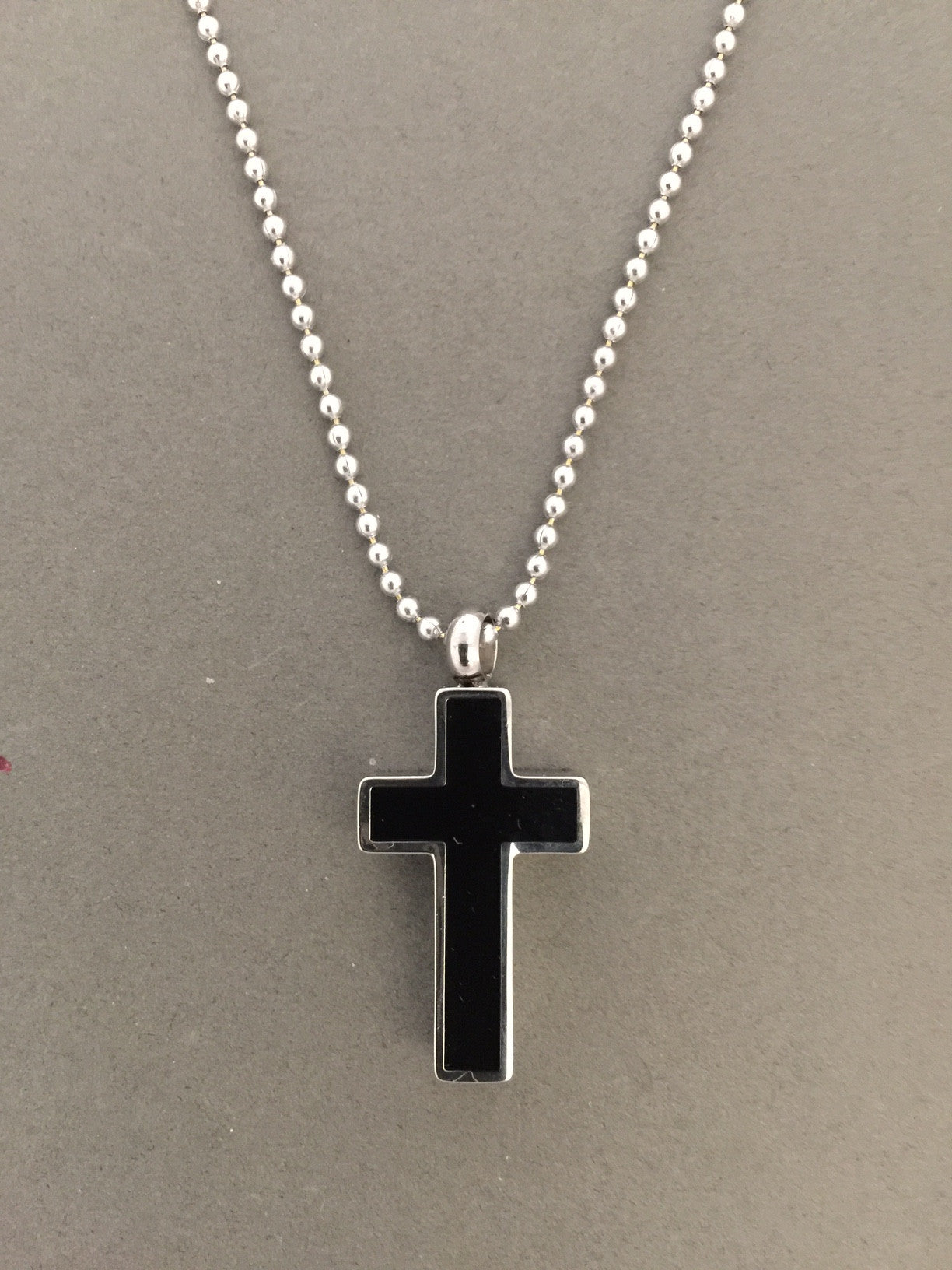 Black Memorial Ashes Urn Cross Necklace Pendant w/ Chain