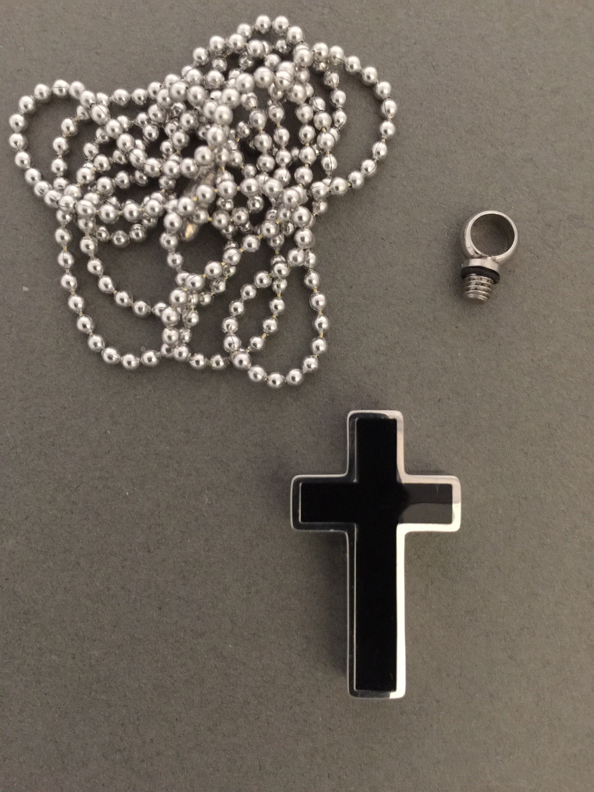 Black Memorial Ashes Urn Cross Necklace Pendant W Chain