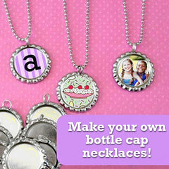 Makes 20 Photo Bottle Cap Necklaces Kit