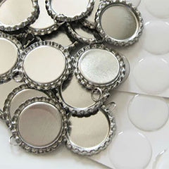 20 Photo Bottle Cap Pendant Settings w/ Clear Photo Covers Supply Pack