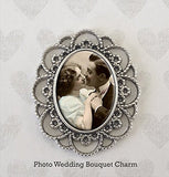 Lace Edge Oval Wedding Bouquet Memorial Photo Charm Includes Photo Resizer Software - Photo Jewelry Making