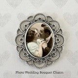 Lace Edge Oval Wedding Bouquet Memorial Photo Charm Includes Photo Resizer Software
