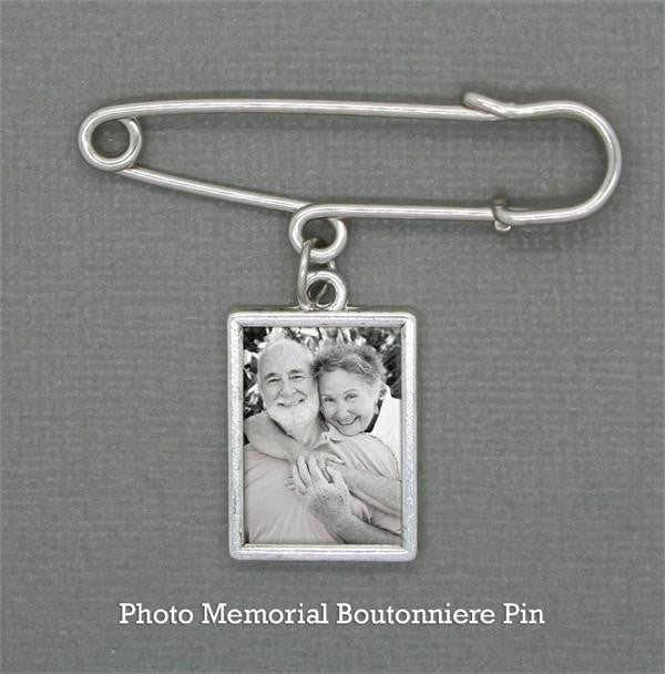 Wedding Boutonniere Memorial Photo Charm w/ Pin Set