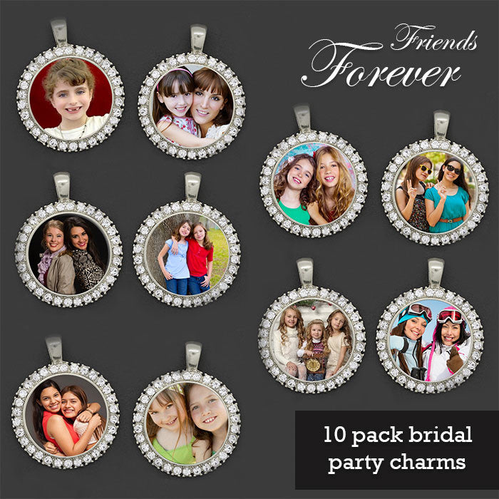 Makes 10 Friends Forever Bridal Party Rhinestone Wedding Bouquet Photo Charms Kit - Photo Jewelry Making