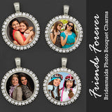Friends Forever Bridesmaids Rhinestone Wedding Bouquet Photo Charms Kit Makes 4 - Photo Jewelry Making