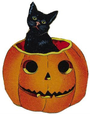 Free Vintage Halloween Cat in Pumpkin Image - Photo Jewelry Making