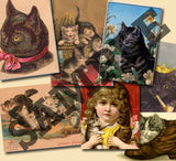 20 Pack Vintage Cats Images Download - Photo Jewelry Making