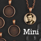 "10 Pack 16mm Mini Copper Glass Photo Pendants & 18"" Link Chain Necklaces Supply Pack"