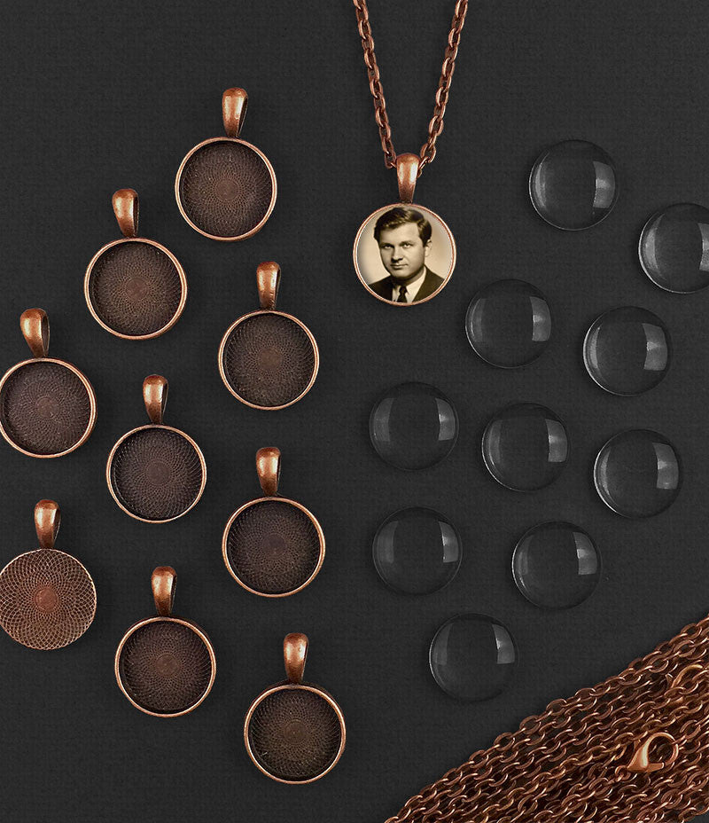10 Pack 16mm Mini Copper Glass Photo Pendants & Link Chain Necklaces Supply Pack