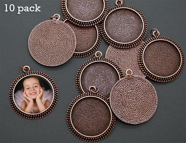 10 Pack Photo Jewelry Beaded Edge Copper Pendant 1 1/4 Inch 30mm W/ Glass Domes Photo Jewelry