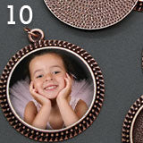 10 Pack Photo Jewelry Beaded Edge Copper Pendant 1 1/4 Inch 30mm W/ Glass Domes - Photo Jewelry Making