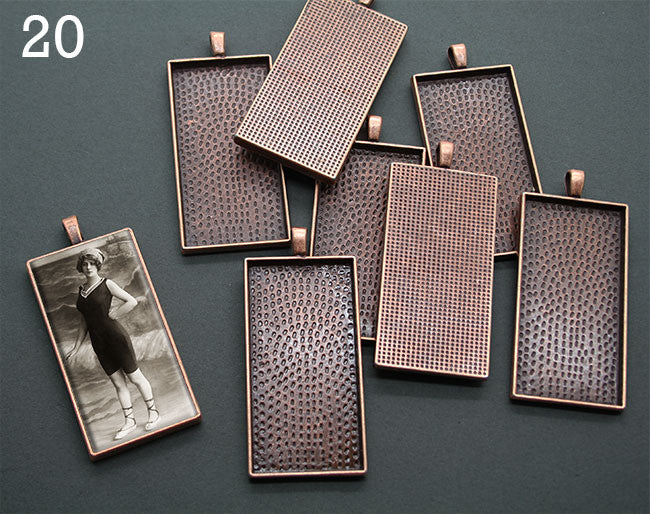 20 Pack Large Copper Rectangle Photo Jewelry Pendants NO GLASS - Photo Jewelry Making