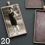 20 Pack Large Copper Rectangle Photo Pendants w/ Glass