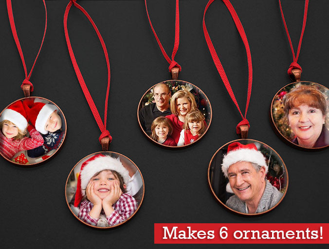 Makes 6 Vintage Copper Photo Christmas Ornaments w/ Red Ribbon Hangers Kits - Photo Jewelry Making