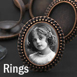 Vintage Style Beaded Edge Copper Photo Ring w/ Glass 20 Pack Photo Jewelry