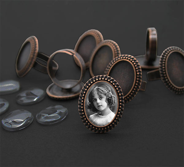 Vintage Style Beaded Edge Copper Photo Ring w/ Glass 20 Pack - Photo Jewelry Making