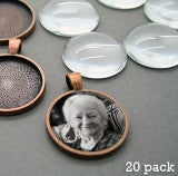 20 Pack Photo Jewelry Copper Pendants 1 1/4 Inch W/ Glass