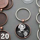 Round 30mm Copper Photo Keychain Supplies Pack Makes 20 Photo Jewelry