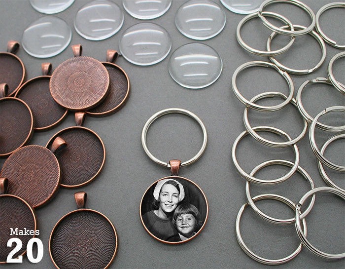 Round 30mm Copper Photo Keychain Supplies Pack Makes 20