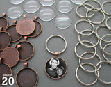 Round 30mm Copper Photo Keychain Supplies Pack Makes 20 - Photo Jewelry Making