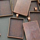 20 Pack 25x35mm Copper Rectangle Photo Pendant Blanks