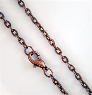10 Pack 24 inch Copper Necklace Chain W/ Lobster Clasp