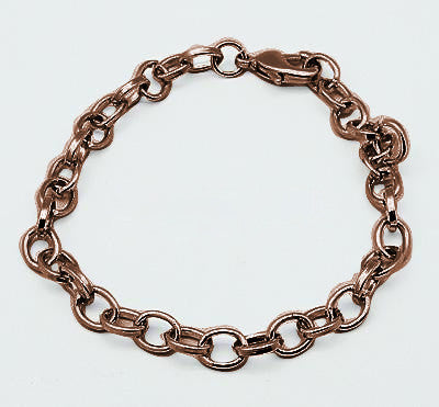 10 Pack Vintage Copper Link Charm Bracelets  8.25 inches
