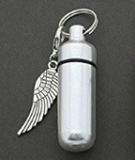 Set of 2 Memorial Funeral Ashes Holder Urn Vial Key Chains w/ Clip on Charms Wing Cross