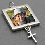 Bridal Wedding Bouquet Photo Charm w/ Dangling  Cross